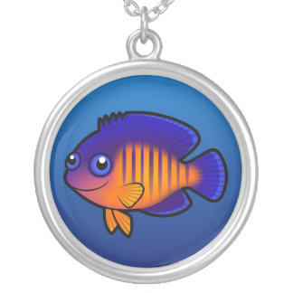Cartoon Angelfish 1 Silver Plated Necklace