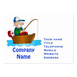 Cartoon angler large business card