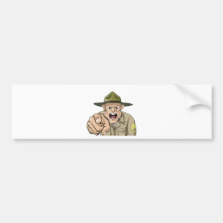 Cartoon angry army drill sergeant shouting bumper sticker