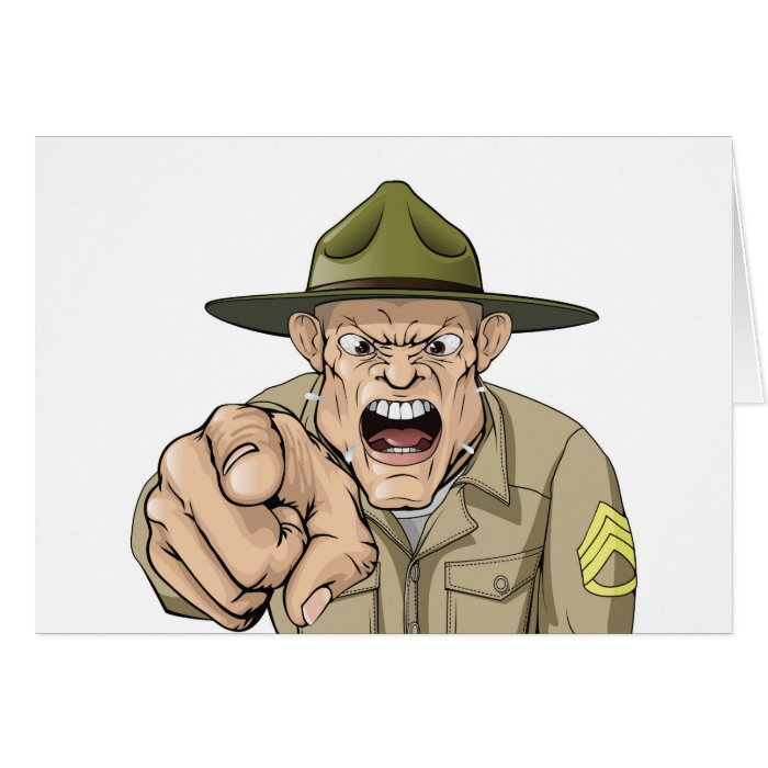 Cartoon angry army drill sergeant shouting card