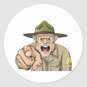 Cartoon angry army drill sergeant shouting classic round sticker
