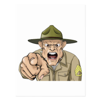 Cartoon angry army drill sergeant shouting postcard