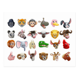 Cartoon Animal Faces Icon Set Postcard