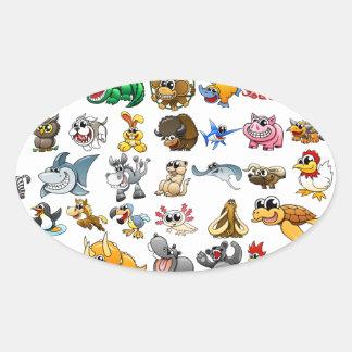 Cartoon Animal Gallery Oval Sticker