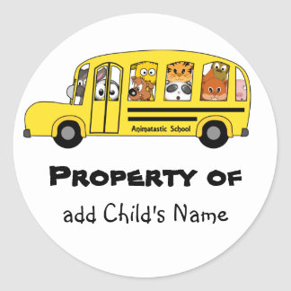 Cartoon Animal School Bus Bookplate Stickers