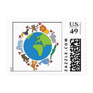 Cartoon Animals Around The World Postage Stamps