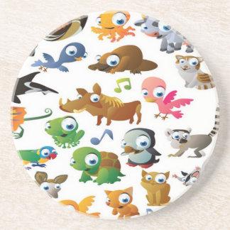 Cartoon animals design sandstone coaster
