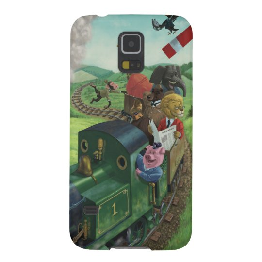 cartoon animals enjoying a train journey galaxy s5 cover