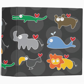 "Cartoon Animals Family Fun Kids Custom 2"" Binder"