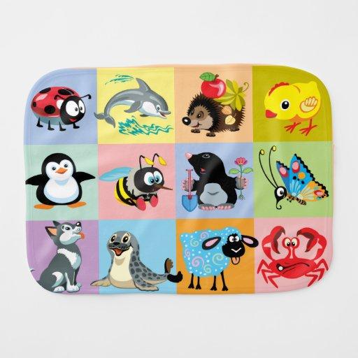 Cartoon animals for kids baby burp cloth zazzle