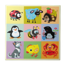 cartoon animals for kids ceramic tile
