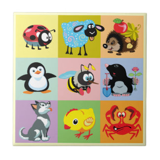 cartoon animals for kids ceramic tile