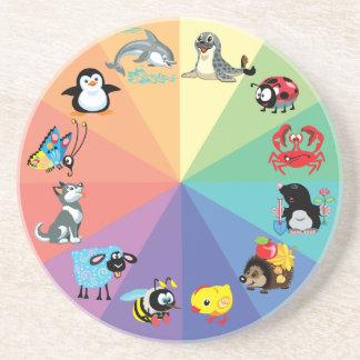 cartoon animals for kids drink coaster