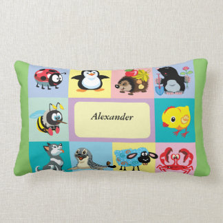 cartoon animals for kids throw pillow