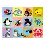 cartoon animals for kids postcard