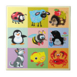 cartoon animals for kids small square tile