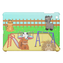 Cartoon Animals in a Playground Scene Case For The iPad Mini