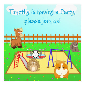 Cartoon Animals in the Playground Children s Party Custom Announcement