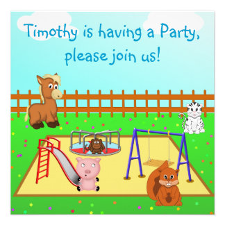 Cartoon Animals in the Playground Children s Party Invitations