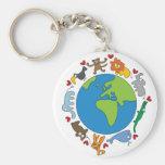 Cartoon Animals of the World Keychain