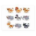 Cartoon animals set 1 postcard