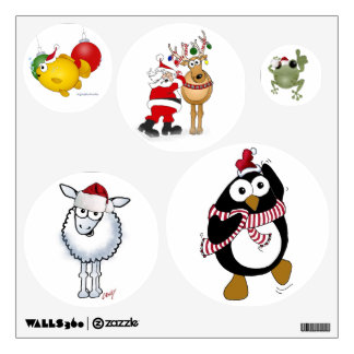 Cartoon animals wearing Santa hats on wall decals. Wall Sticker