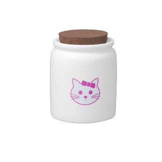Cartoon Anime Cat Face Candy Jar