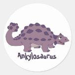 Cartoon Ankylosaurus Classic Round Sticker