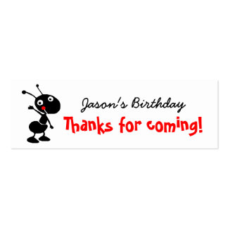 cartoon ant thank you for coming to my party Double-Sided mini business cards (Pack of 20)