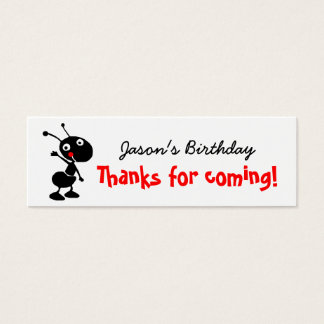 cartoon ant thank you for coming to my party mini business card