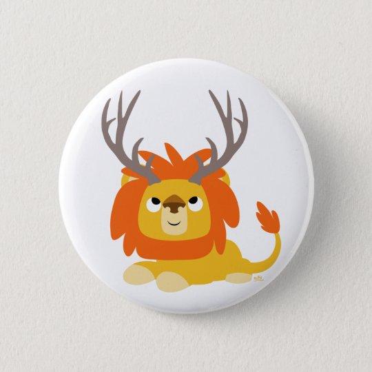 Cartoon Antlered Lion button badge