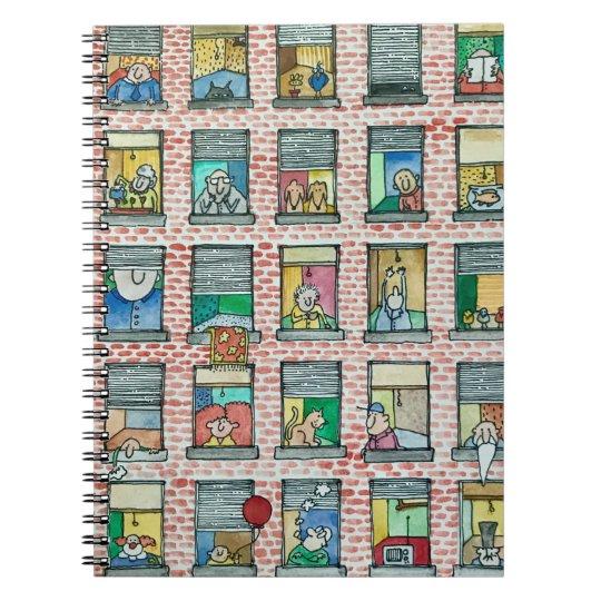 Cartoon Apartment Building Windows Spiral Notebook