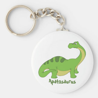 Cartoon Apatosaurus Basic Round Button Keychain