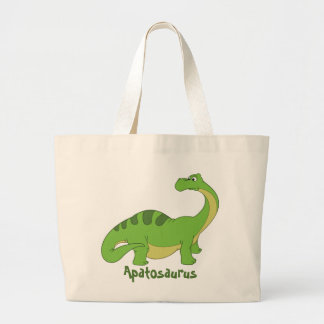 Cartoon Apatosaurus Large Tote Bag