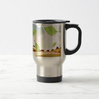 Cartoon apple orchard landscape travel mug