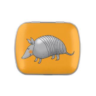 cartoon armadillo jelly belly tin