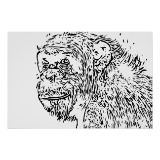 Cartoon Art Chimpanzee Poster