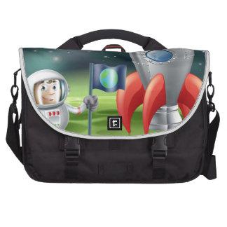Cartoon astronaut and vintage rocket laptop shoulder bag