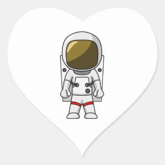 Cartoon Astronaut Heart Sticker