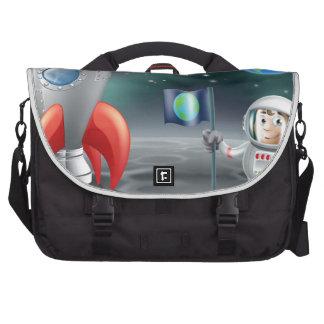 Cartoon astronaut vintage space rocket on moon commuter bag