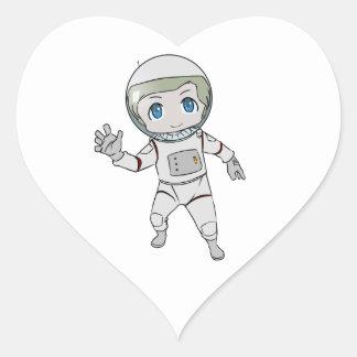 Cartoon Astronaut Waving Heart Sticker
