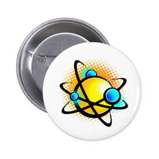 Cartoon Atom Pinback Button