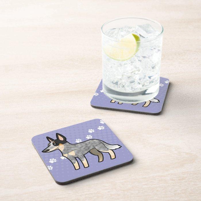 Cartoon Australian Cattle Dog / Kelpie Beverage Coaster