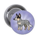 Cartoon Australian Cattle Dog / Kelpie Pinback Button