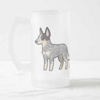 Cartoon Australian Cattle Dog / Kelpie Frosted Glass Beer Mug