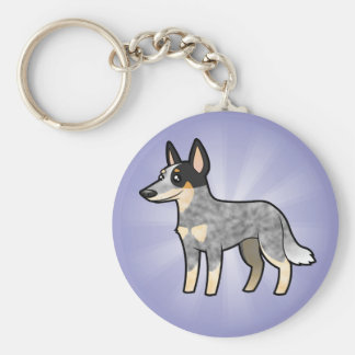 Cartoon Australian Cattle Dog / Kelpie Keychain