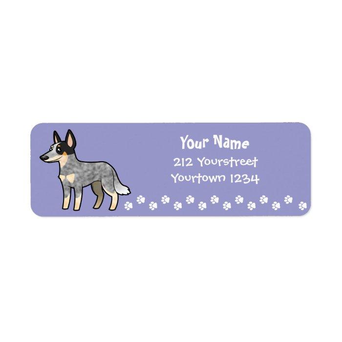 Cartoon Australian Cattle Dog / Kelpie Label