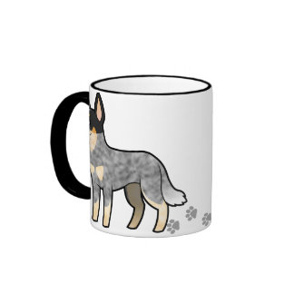 Cartoon Australian Cattle Dog / Kelpie Ringer Coffee Mug