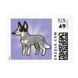 Cartoon Australian Cattle Dog / Kelpie Postage Stamp