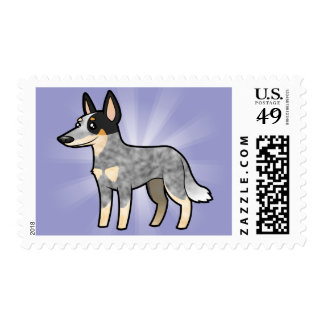 Cartoon Australian Cattle Dog / Kelpie Postage Stamp